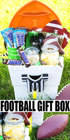 FOOTBALL GIFT BASKET- Learn how to make a quick and easy diy homemade football gift box. It includes all the essentials you would need to throw a succ. Party Food And Drinks, Party Snacks, Dessert Party, Football Gift Baskets, Candy Popcorn, Recipe Girl, Food Stamps, Best Appetizers, My Guy