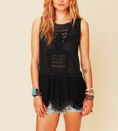 3453 New Free People Lace Eyelet Floral Embroidered Black Tunic Top Large L  #FreePeople #Tunic #Casual
