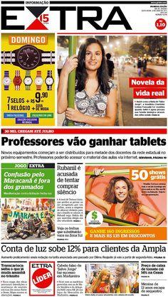 12-04-2013 - Capas do Jornal Extra - Primeira página do Jornal Extra do Rio - Extra Online