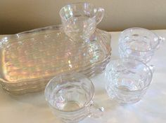 Vintage Federal Glass Co. Yorktown Irridescent Snack Set 8 Pieces 1960s by TahoeTonyas on Etsy
