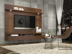 Manhattan Comfort Cabrini Theater Entertainment Center Panel in Nut Brown-Hosting the Super Bowl? Enjoying a quiet intimate evening at home? Your TV has never looked better mounted on the Cabrini Theater Panel. Simply attach it to the panel using Decor, Tv Unit Design, House Design, Home Entertainment Centers, Wall Design, Living Room Wall, Home, Living Room Tv Wall, Living Room Tv Unit