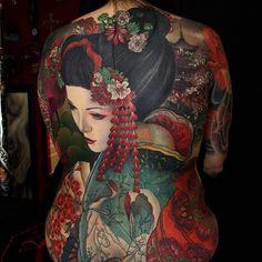Japanese back tattoo by @gogueart. #japaneseink #japanesetattoo #i #tebori #colortattoo #colorfultattoo #cooltattoo #largetattoo #backtattoo #girltattoo #geishatattoo #flowertattoo #cherryblossomtattoo #newschool #newschooltattoo #blackwork #blackink #blacktattoo #wavetattoo #naturetattoo