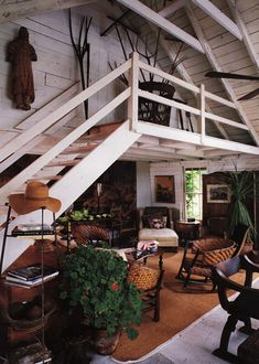 Source Unknown {rustic vintage bohemian modern converted barn living room} by recent settlers, via Flickr
