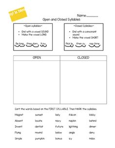Open Closed Syllable Sort
