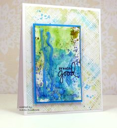 'front panel on this card was a leftover. ink was on my non-stick craft sheet; instead of wiping it off, I sprayed it with mini mister water; dragged paper through wet ink to reveal a mix of colours on my paper. heated up my glue gun, added some glue lines onto my panel, when cool, rubbed some blue paint over the lines to blend with the background. card front: ink up HA stamp, spray with a 'lots' of water; stamped; add some splatters of blue, stamp the sentiment, mount with pop dots.