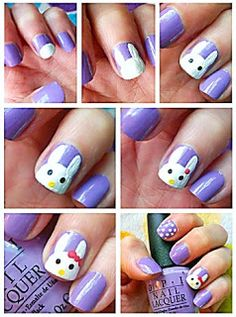 DIY hello bunny easter nail art check out www.MyNailPolishObsession.com for more nail art ideas.