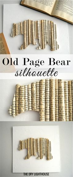 Old page BEAR silhouette wall art | DIY rolled pages to make an outline of a bear | shop this product on #thediylighthouseshop | home decor ideas for country rustic animal art #vintage #shabbychic #buy #craft #doityourself