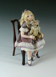 1:12 Scale Dollhouse Little Girl Doll With Teddy Bear by Debbie Dixon-Paver