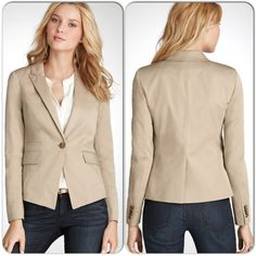 ⚡️FLASH⚡️NWT Ann Taylor Sateen Blazer NWT - Ann Taylor Sateen Blazer in a neutral khaki. A must-have wardrobe basic! Lined, tailored fit, peaked lapels, flap pockets with single button closure, and vent at back. Size is 00P. Retail $158 + tax. Ann Taylor Jackets & Coats Blazers