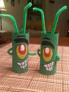 SpongeBob plankton toilet paper rolls all you need is green,white,black,and yellow paint toilet paper rolls and some antanas