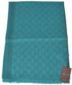 NEW Gucci Women's 359908 Wool Silk Jade Overdyed GG Guccissima Scarf Shawl…