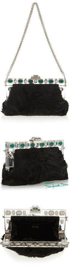 Dolce & Gabbana Fall 2015 Black Lamb Fur Evening Bag ♔THD♔ More of this collection on my Milan Fall 2015 RTW Fashion board.