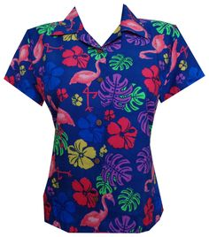 Hawaiian Shirts Women Flamingo Leaf Print Aloha Beach Blouse Casual #Alvish #Hawaiian