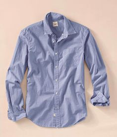 Complete your man's casual fall look with a relaxed blue button down shirt. (via @Landi Thompson' End www.landsend.com)