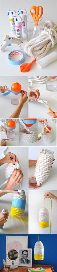 Lámpara DIY con cuerda - blog.etsy.com - DIY Rope Lamp