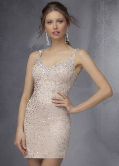 2015 Nude Mori Lee 9277 Beaded Fitted Bodice Short Prom Dress