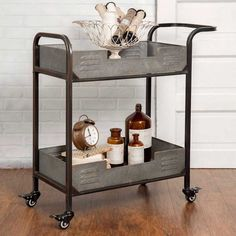 Industrial Loft Iron and Galvanized Metal 2-Tier Serving, Bar Cart