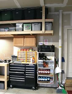I like how these high shelves are the exact size for the storage bins.