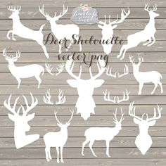 Vector Deer shilouette cliparts by burlapandlace on Creative Market