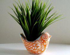 Ceramic Bird Planter Orange White Spring Home Decor Folk Art Vase Tattoo Tangerine Hand Painted - MADE TO ORDER