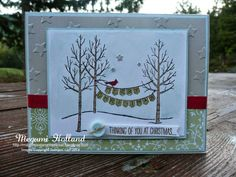Megumi's Stampin Retreat, Stampin' Up! White Christmas Stamp Set, Stampin' Up! Lucky Stars Embossing Folder, Stampin' Up! All is Calm Specialty Designer Series Paper, Stampin' Up! Confetti Stars Punch, Stampin' Up' Nordic Designer Buttons, Shimmery White Card Stock, Aqua Painter