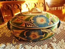 Vintage Mexican Pottery - Covered Casserole Dish - Circa 1940's