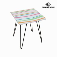 Square table with coloured stripes by Craften Wood