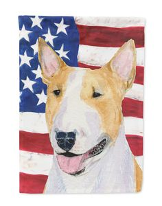 USA American Flag with Bull Terrier Flag Garden Size