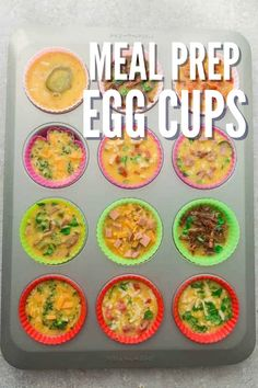 Meal prep with these easy egg cups. These egg cups are versatile in what you can toss in them, and they reheat nicely and freeze well. #breakfast #eggcup #egg #breakfastmealprep #mealprep #eggrecipe #omelet