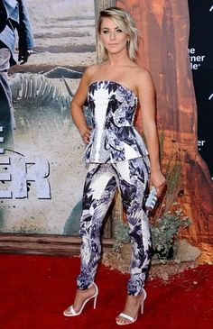Julianne Hough wearing a Monique Lhuillier strapless pantsuit at the premiere of The Lone Ranger.