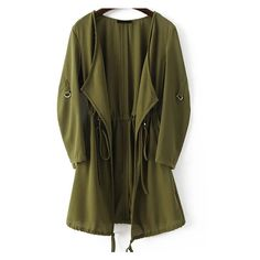 Army Green Draped Collar Drawstring Chiffon Coat ❤ liked on Polyvore featuring outerwear, coats, brown coat, chiffon coat and drawstring coat