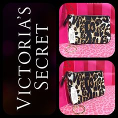 Victoria's Secret Leopard Keychain Purse Nwt. Has a keychain, gold, leopard print on the outside polka dot print on the inside. ️SUGGESTED USER❤️ Have pets (3 Cats) may not get every single piece of hair from clothing SMOKE FREE HOME SHIPPING VARIES DUE TO WORK NO TRADES NO PP ABSOLUTELY NO LOWBALLING/ABUSING OFFERS DRAMA FREE & RUDE FREE CLOSET  PLEASE DONT START ANYTHING     OR YOU WILL BE BLOCKED Victoria's Secret Bags Clutches & Wristlets