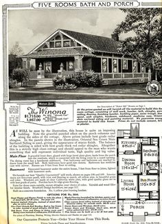 The Sears Winona, as featured in the 1921 Sears Modern Homes catalog. The house in Raleigh (see below) is just a spot-on match, a rarity in a house of this age!