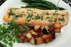 Slow-baked Arctic char with crisp potatoes
