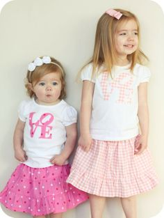 Very cute heart applique tops, but even better is the simple tutorial for the tiered girls skirts!