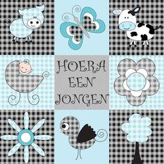 Een leuke hippe felicitatiekaart voor een jongen. Een zwart en blauw design met leuke patroontjes.