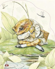 Jeremy Fisher trying to catch some minnows for his dinner party. Beatrix Potter