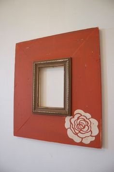 5x7+Distressed+Wood+Picture+Frame+Orange+Bloom+by+deltagirlframes,+$90.00
