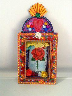 mexican shadow box | Mexican tin nicho/ shadow box shrine/ La Rosa rose loteria / vibrant ...
