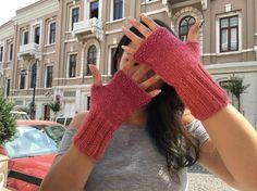Pink Gloves, Fingerless Gloves, Knit Fingerless gloves, Arm warmers, Womens Fingerless, Mittens, Winter gloves, Winter Accessories,…