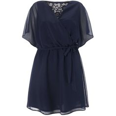 Miss Selfridge Navy Wrap Lace Back Dress ($44) ❤ liked on Polyvore featuring dresses, navy, navy wrap dress, navy dress, navy lace dress, blue dress and sleeved dresses