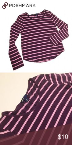 [Gap Kids] Purple Stripped Long Sleeve Perfect everyday essential long sleeve cotton top. Dark purple and lavender stripes. Excellent condition! Great for back to school or fall! Gap Kids Shirts & Tops Tees - Long Sleeve