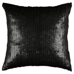 Cotton pillow covered in black sequins.  Product: PillowConstruction Material: Cotton and polyester fill
