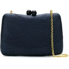Serpui woven straw clutch ($295) ❤ liked on Polyvore featuring bags, handbags, clutches, straw purse, clasp handbag, woven handbags, woven purses and blue handbags