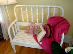 Itsy Bits and Pieces: Bachman's Spring Ideas House- Part Four- The Bedrooms... #upcycle #headboard #bench