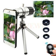 Camera Phone Lentes Kit 12x Zoom Telescope Telephoto Lens+Tripod+Macro Wide Angle Fisheye Lenses For iPhone 4 5 5C 5S SE 6 6S 7