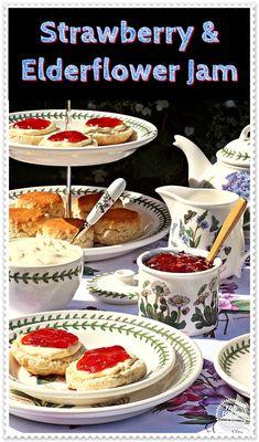 Strawberry & Elderflower Jam - no pectin recipe! A delicious summery jam, perfect for a cream tea! Jelly Recipes, Jam Recipes, Canning Recipes, Fruit Recipes, Brunch Recipes, Dessert Recipes, Superfood Recipes, Budget Recipes, Simple Recipes