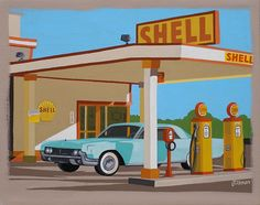 Mid Century Modern Eames Retro Limited Edition Print from Original Painting Shell Gas Station via Etsy.