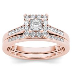 De Couer 10k Rose Gold 1/2ct TDW Diamond Halo Engagement Ring Set with One Band (H-I, I2) (Size-6), Women's, Size: 6, Pink