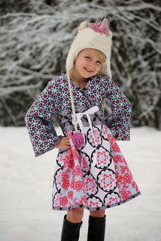 Floral Gardens  Little girls Kyoko Dress sz 5t by MooCowMonkeyPig, $34.99